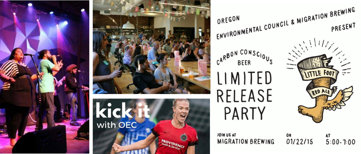 A collage of four images: a band on stage, a crowd around tables in a cafeteria, two soccer players, and a release party invitation