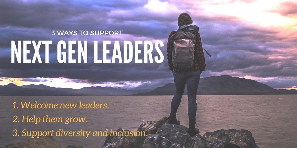 Infographic titled 3 ways to support next gen leaders