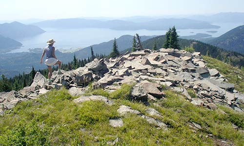Hiking Goat Mountain trail, overlooking Lake Pend Oreille in the Scotchman Peaks.