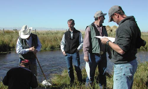Gallatin Stream Teams, taking samples from Thompson Creek.